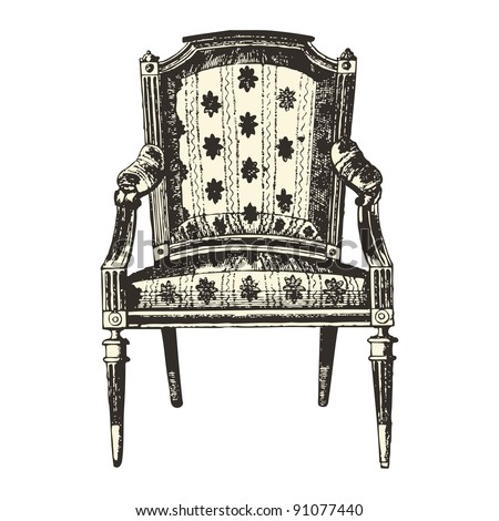 """Armchair 19th century style - Vintage engraved illustration - """"Le Mobilier"""" Ed.Edouard Rouveyre  in 1915 France - stock vector"""