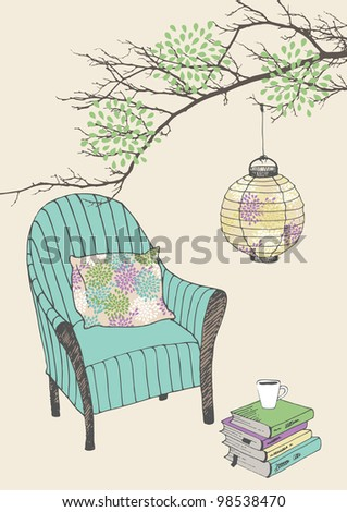 Armchair with pillow and paper lantern - stock vector