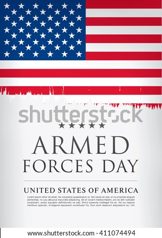 Armed forces day template poster design - stock vector
