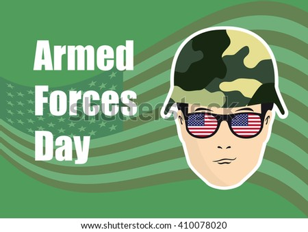 Armed Forces Day vector. Background with American flag. Festive vector illustration. Soldier on background with American flag - stock vector