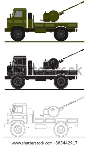 armed forces unit. air-defense system image for infographic. vector illustration