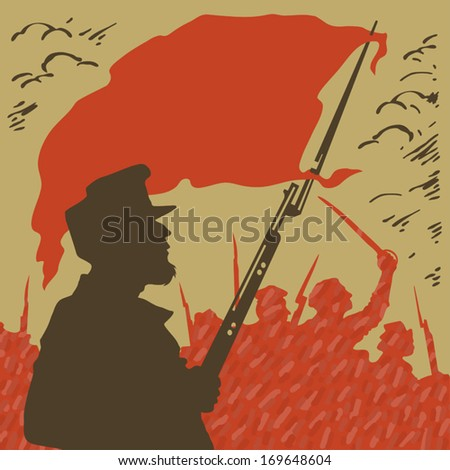 armed man with a red flag on a background of revolution - stock vector