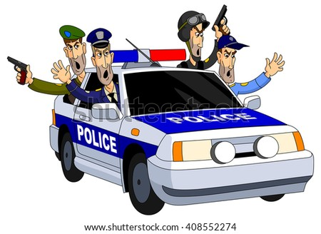 Armed police chase in a patrol car. - stock vector