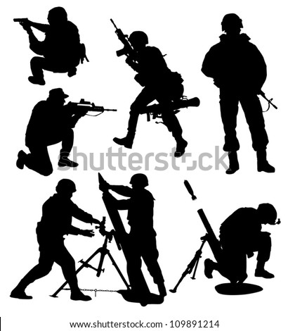 Armed Soldier Silhouette Collection vector - stock vector