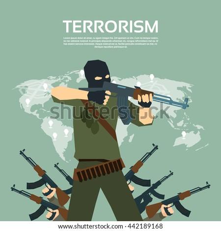 Armed Terrorist Group Over World Map International Terrorism Concept Flat Vector Illustration - stock vector