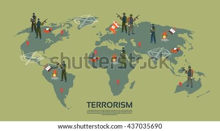 Armed Terrorist Group Over World Map Terrorism Concept Flat Vector Illustration - stock vector