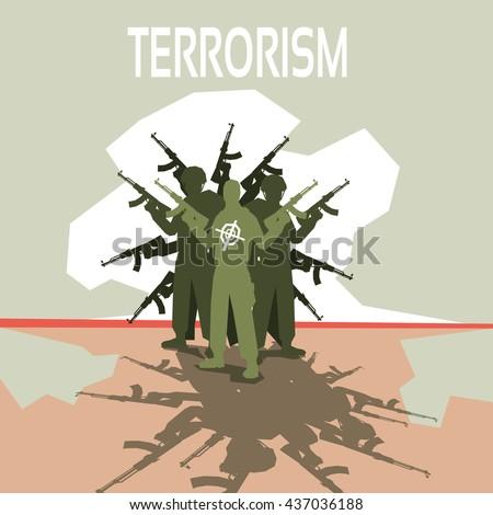 Armed Terrorist Group Terrorism Concept Flat Vector Illustration - stock vector