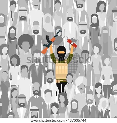 Armed Terrorist In Crowd People Group Terrorism Threat Concept Flat Vector Illustration - stock vector