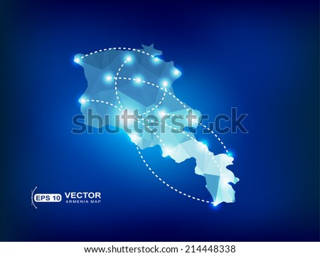 Armenia country map polygonal with spot lights places - stock vector