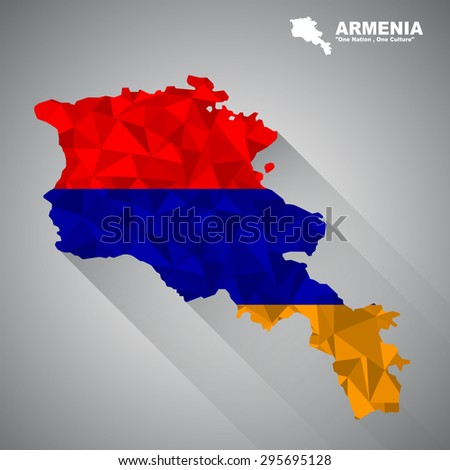 Armenia flag overlay on Armenia map with polygonal and long tail shadow style (EPS10 art vector)