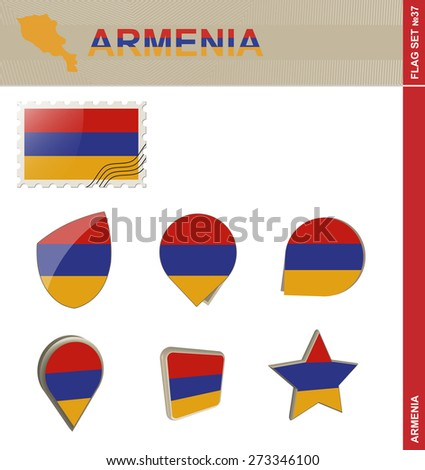 Armenia Flag Set, Flag Set #37. Vector.