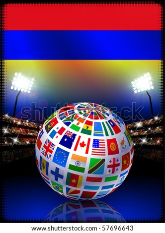 Armenia Flag with Globe on Stadium Background Original Illustration