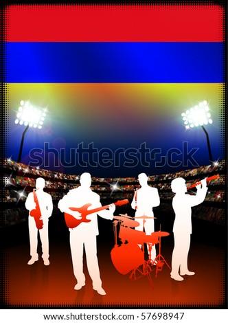 Armenia Flag with Live Music Band on Stadium Background Original Illustration - stock vector