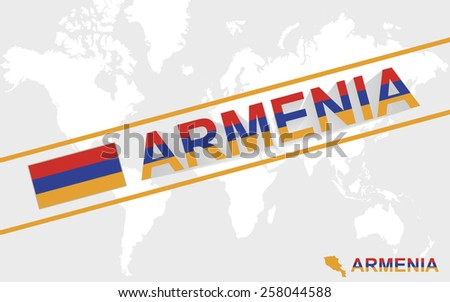 Armenia map flag and text illustration, on world map  - stock vector