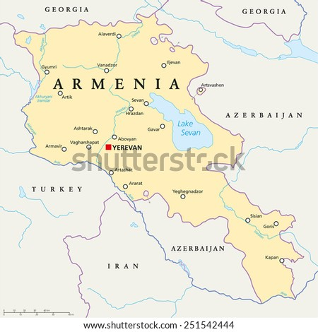 Armenia Political Map with capital Yerevan, national borders, important cities, rivers and lakes. English labeling and scaling. Illustration. - stock vector