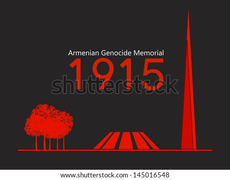 Armenian Genocide Memorial in Yerevan, dedicated to the victims of the Armenian Genocide of 1915, vector - stock vector