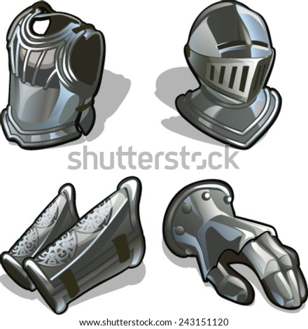 armor, armour, harness, breastplate, amour, panoply - stock vector