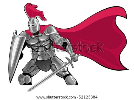 armored knight with sword and shield - stock vector