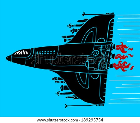 Armored plane - stock vector