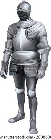 Armour of the medieval knight. Metal protection of the soldier against the weapon of the opponent - stock vector