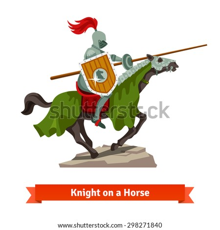 Armoured medieval knight riding on a horse with spear and shield. Flat vector illustration isolated on white background. - stock vector