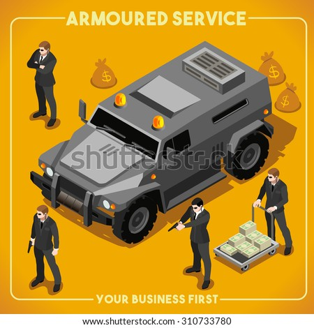 Armoured Service Heavy Armored Vehicle and Security Detail Body Guard. NEW bright palette 3D Flat Vector Isometric Set. Vector JPEG JPG EPS 10 Image Drawing AI Object Picture Graphic Art - stock vector