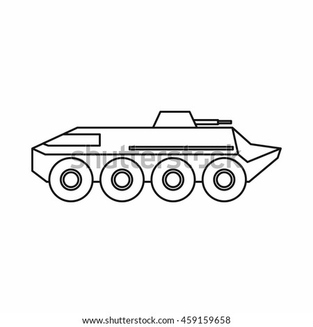 Armoured troop carrier wheeled icon in outline style on a white background - stock vector
