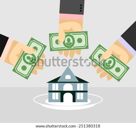 Arms and money. Buying a House. Selling a home. Business illustration - stock vector