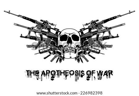 arms vector illustration wings the ApotHEOSis of War white black guns blazon sign old bones isolated weapon abstract gothic emblen armour tattoo graphic design pistol vintage tiara banner shield crest - stock vector