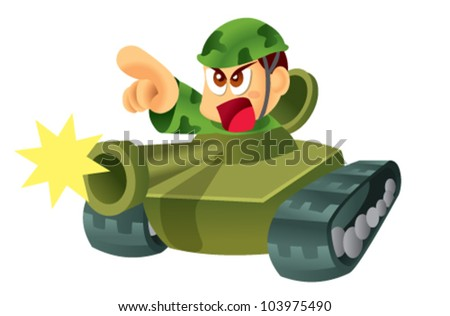 army and tank - stock vector