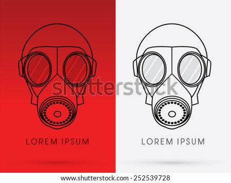 Army Gas Mask, designed using line graphic on red background, logo, symbol, icon, graphic, vector. - stock vector