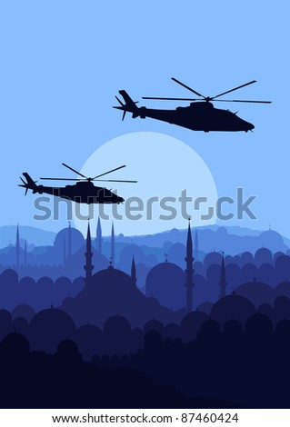 Army helicopters flying over Arabic city landscape background illustration - stock vector
