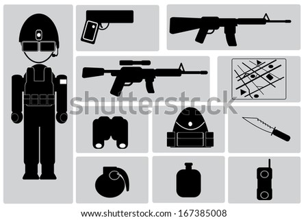 army icon set - stock vector