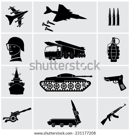 Army. Icons in a vector. - stock vector