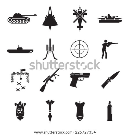 Army icons set - stock vector