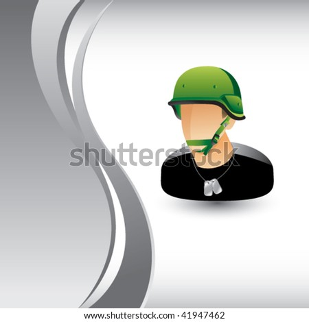 army man on silver wave - stock vector