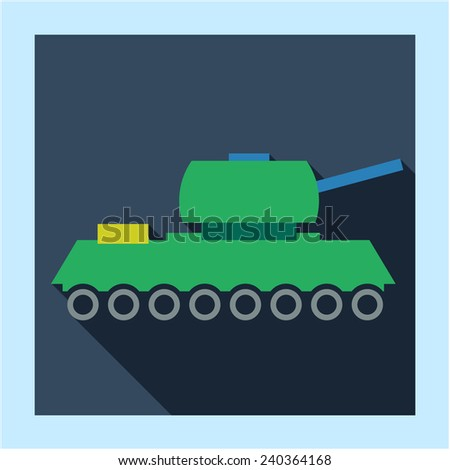 Army military ready for war tank icon photo frame card in flat style with long shadow. For armor  business, education, infographics and internet web site design - stock vector