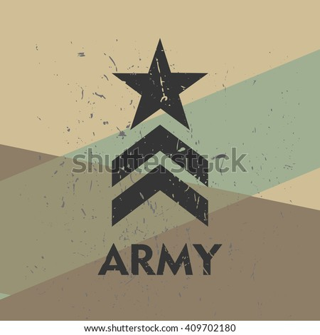 Army military stamp, label, sign. Vector art.