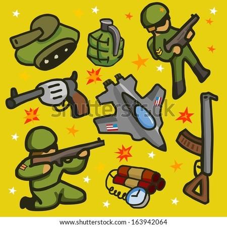 Army set flat. childish Vector illustration - stock vector