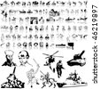 Army set of black sketch. Part 7. Isolated groups and layers. - stock photo