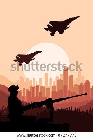 Army soldier in skyscraper city landscape background illustration - stock vector
