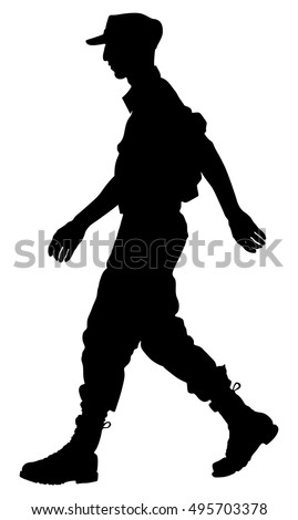 Army soldier's ceremony walking silhouette vector isolated on white background. (Memorial day, Veteran's day, 4th of july, Independence day)
