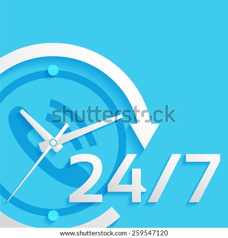 around the clock, 24 hours, 7 days vector illustration - stock vector