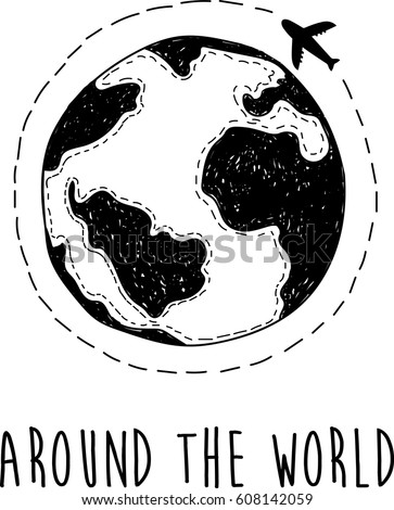 Around The World Hand Drawn Planet And Airplane With Dotted Lines Road Stylish Vector