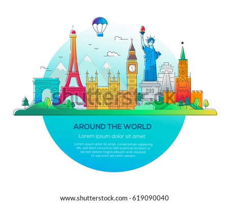 Europe skyline detailed silhouette vector illustration for All around the world cruise
