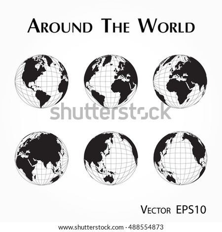 Around World Outline World Map Latitude Stock Vector - World outline