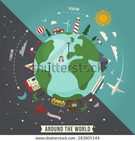 Around the world travel illustration - stock vector