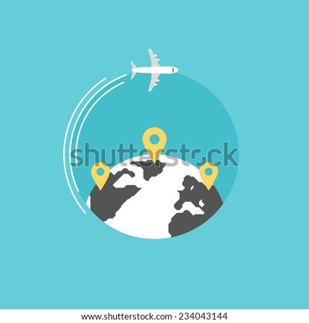 Around the world travelling by plane, airplane trip in various country, travel pin location on a global map. Flat icon modern design style vector illustration concept. - stock vector
