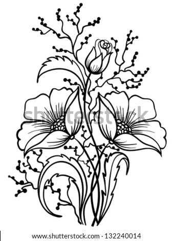 Arrangement of flowers black and white. Outline drawing of lines. Many similarities to the author's profile
