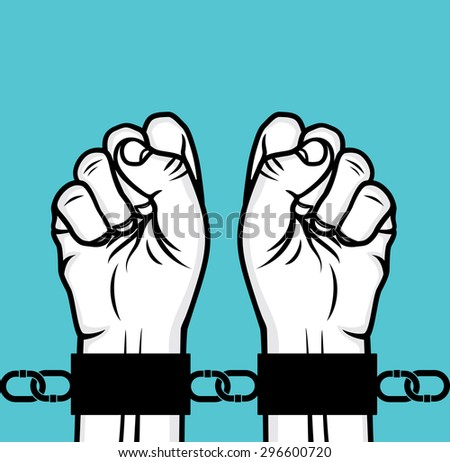 Arrested man hand and hand cuffs - stock vector